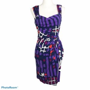 Issa London abstract print silk dress size 2